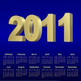 2011 blue calendar. For design,  illustration Royalty Free Stock Image