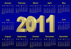 2011 blue calendar Stock Image