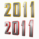 2011 with border. 3D render 2011 on white plane with yellow and red border Royalty Free Stock Photo