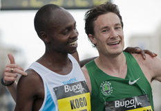 2011 Buba Great Yorkshire Run. Micaah Kogo (winner) and Chris Thompson (runner-up) at the finish line of the 2011 Buba Great Yorkshire 10km run in Sheffield Stock Photos