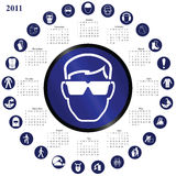 2011 calendar. With mandatory health and safety theme stock illustration