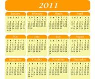 2011 Calendar. In Orange and Yellow Stock Image