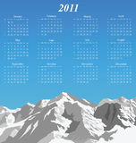 2011 calendar. With snow capped mountain range Royalty Free Stock Image