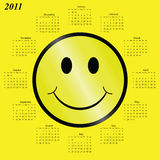 2011 calendar. With a happy face motif Royalty Free Stock Images
