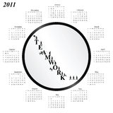 2011 calendar. With an office teamwork theme Royalty Free Stock Images