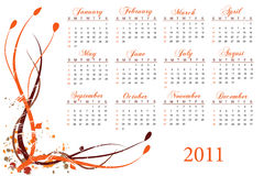 2011 Calendar. Calendar for the year 2011 on a white background Vector Illustration