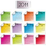 2011 calendar. On colored sheets vector illustration