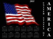 2011 calendar. With stylised United States of America flag Royalty Free Stock Images