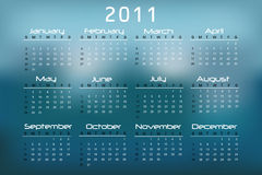 2011 Calendar. Blue, white and black 2011 calendar Royalty Free Illustration