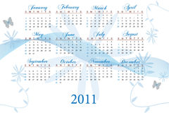 2011 Calendar. Image of a 2011 calendar with flower background Stock Photography