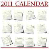 2011 Calendar. Calendar for 2011 on paper sheets stock illustration
