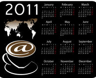 2011 calendar. Calendar for year 2011 with coffees royalty free illustration