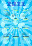 2011 calendar. Calendar for 2011 year in blue abstract background Royalty Free Illustration