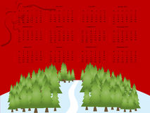 2011 calendar. Editable 2011 vector calendar on red Christmas theme vector illustration