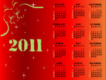 2011 calendar. Editable 2011 calendar on red Christmas theme vector illustration