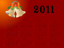 2011 calendar. Editable 2011  calendar on red Christmas theme Royalty Free Stock Image