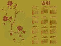 2011 calendar. Editable 2011  calendar with hibiscus flowers Stock Photo