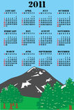 2011 calendar. Editable 2011  calendar  with abstract mountain illustration with pine trees Stock Photo