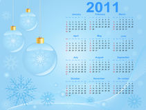 2011 Calendar. A. Bstract blue christmas  background Royalty Free Stock Photo