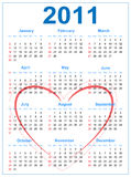 2011 Calendar. Calendar for 2011 with heart on a white background Vector Illustration