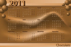 2011 Calendar. Chocolate theme - Abstract background Royalty Free Stock Images