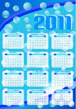 2011 calendar. In abstract blue background stock illustration