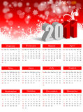 2011 calendar. Calendar for 2011 on a white and red background stock illustration