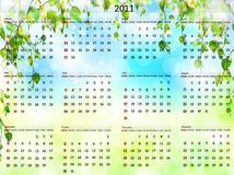 2011 calendar. Horizontal 2011 calendar template over nature background Stock Photos