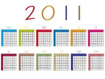 2011 calendar against white Royalty Free Stock Photos