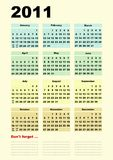 2011 calendar with annotations space royalty free illustration