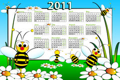 2011 Calendar with bees. 2011 Kid calendar landscape with bees and daisies - Cartoon style Stock Photos