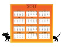 2011 calendar with cat 02 Royalty Free Stock Photography