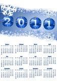 2011 calendar with christmas balls Royalty Free Stock Image