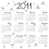 2011 calendar with dandelion seeds Stock Photos