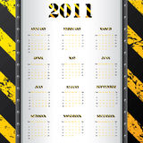 2011 calendar with grunge warning background Stock Image