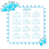 2011 Calendar with hearts. 2011 Calendar decorated with blue hearts. Isolated on white vector illustration
