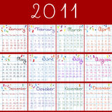 2011 calendar on math pages. And red background Stock Photography