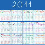 2011 calendar on math pages. And blue bcakground Stock Photography