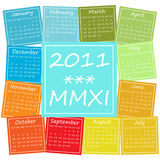 2011 calendar in seasonal colors. Calendar for 2011, weeks start on Monday Stock Photography
