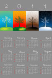 2011 calendar with seasons. On grey background stock illustration