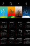 2011 Calendar with seasons. Over black background Stock Illustration