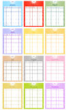 2011 Calendar Set. In Multiple Colors Stock Photo