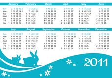 2011 calendar (starts Sunday) Royalty Free Stock Image