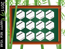 2011 calendar tags. On blackboard royalty free illustration