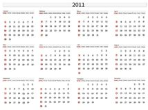 2011 calendar template. Horizontal illustration of 2011 calendar template Royalty Free Stock Photography