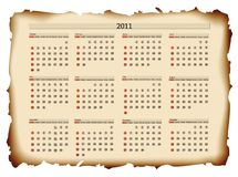 2011 calendar template. Horizontal 2011 calendar template at burned paper Royalty Free Stock Image