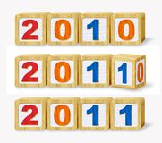 2011 Calendar Year. Digital Illustration Concept of 2011 made from wooden building blocks royalty free illustration
