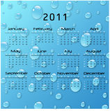 2011 Calnedar. 2011 Raindrops Calendar on a blue background Royalty Free Stock Photo