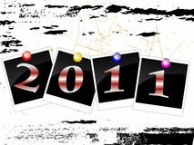 2011 card. Illustration of photos with colorful numbers on a grunge background Stock Photography