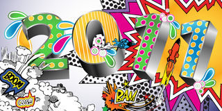 2011 Cartoon Style Background. 2011 in a Colorful Comic Book Style vector illustration